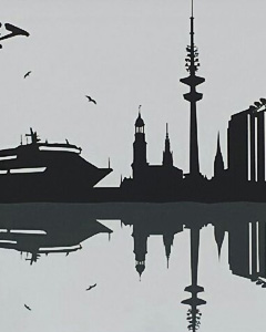 Vectorgrafik Skyline Hamburg